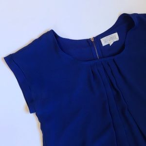Blue Pleated Work Blouse